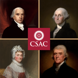 CSAC Logo superimposed over four images of the founders