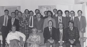 Reception at Merrill Jensen's condominium in May 1976 after a symposium in honor of Jensen's retirement from the University of Wisconsin-Madison after Jensen turned 70 years old.