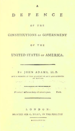 """A Defence of the Constitutions of Government of the United States of America"": Title page"