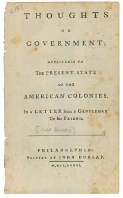 Thoughts on Government (1776)