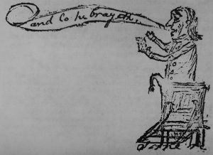 Lo He Brayeth: A caricature of Baptist minister Lemuel Burkitt, a member of the Hillsborough Convention, by Elkanah Watson and Patrick Garvey, from the Collections of the New York State Library, Manuscripts and Special Collections, Albany, New York.