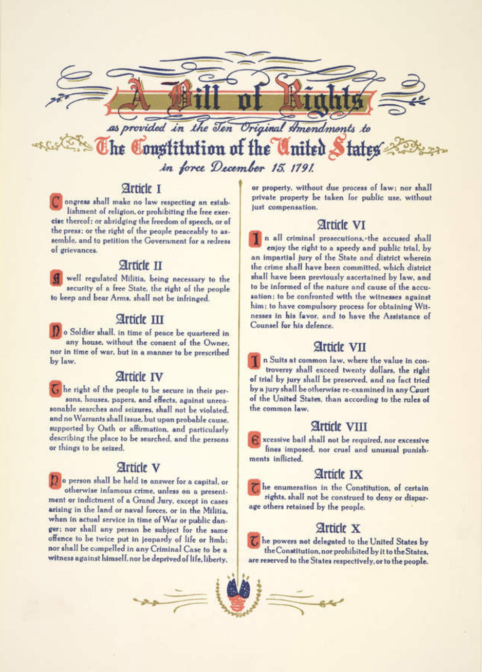 The three-quarters vote was finally achieved when Virginia ratified on December 15, 1791. On March 1, 1792, Secretary of State Thomas Jefferson informed the states that ten of the amendments had been adopted.