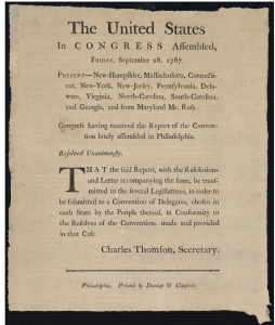 Congressional Resolution of 28 September 1787 from the Continental Congress Broadside Collection (Library of Congress)