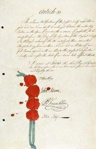 Treaty of Peace, 1783 with signatures of John Adams, Benjamin Franklin, and John Jay